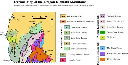 Tectonic map of Oregon Klamaths