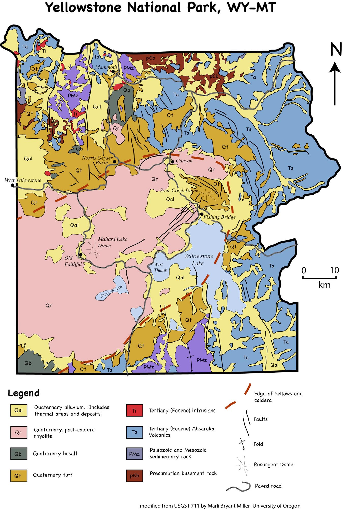 geologic map of yellowstone national park -