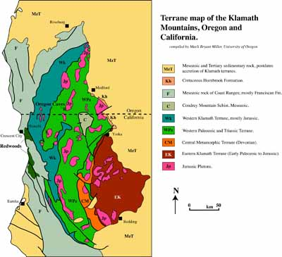 Tectonic map of Klamath Mtns, CA-OR