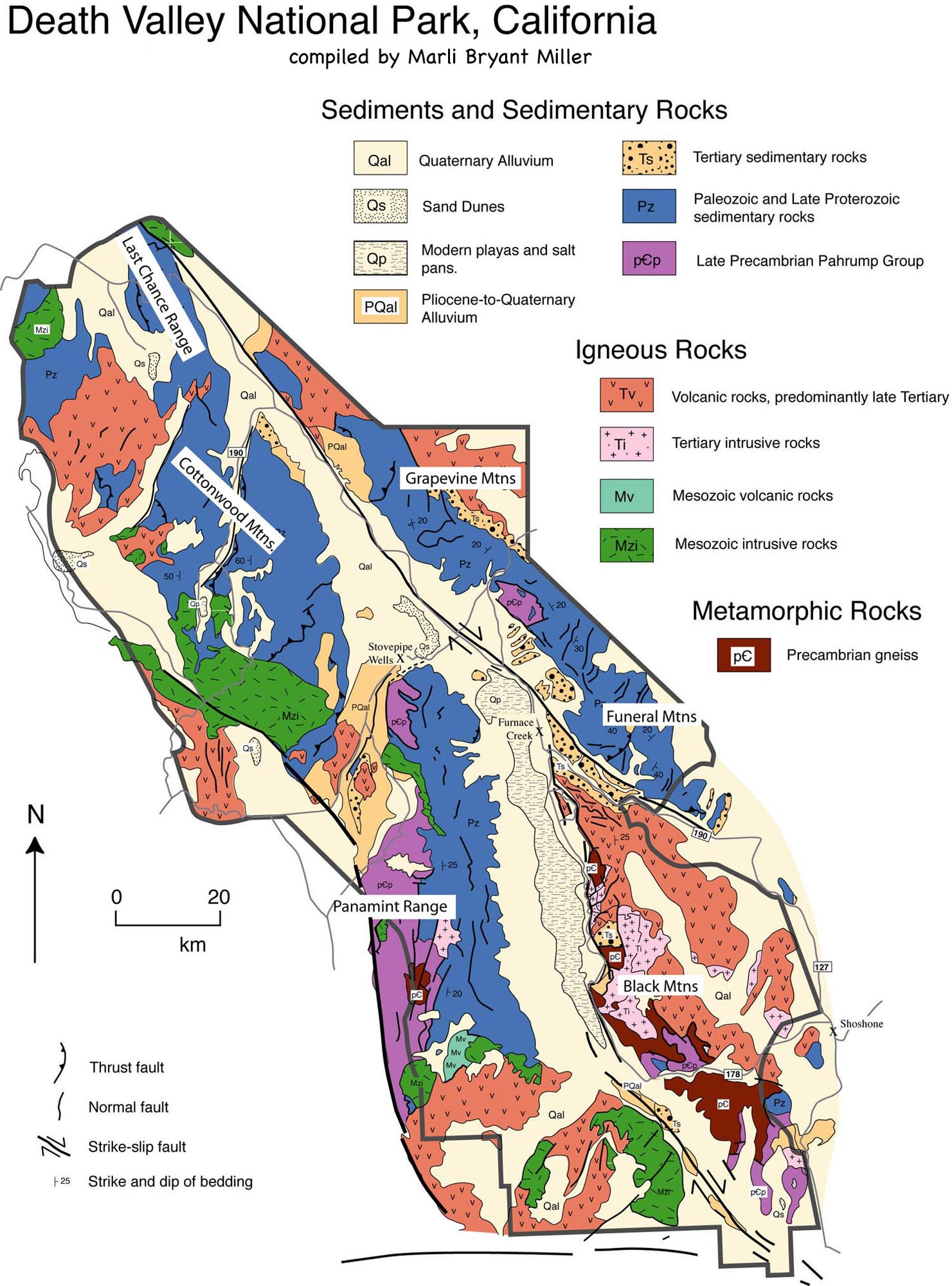 California Map Of National Parks.Geologic Map Of Death Valley National Park California